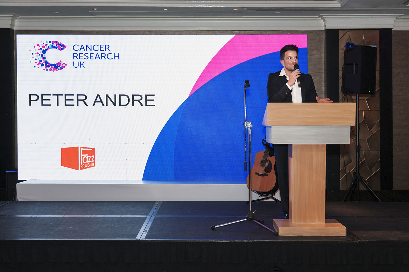 Peter Andre speaks at World Cancer Day Gala in support of