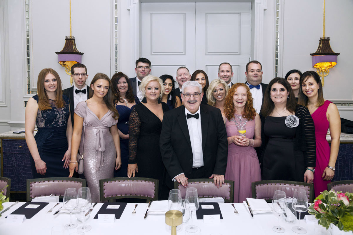 Pure Law staff group shot at their party in the Langham hotel London