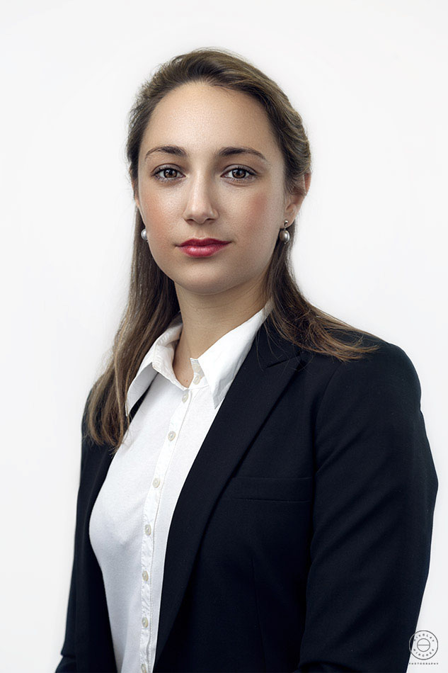 Corporate headshot of business lady on a white background