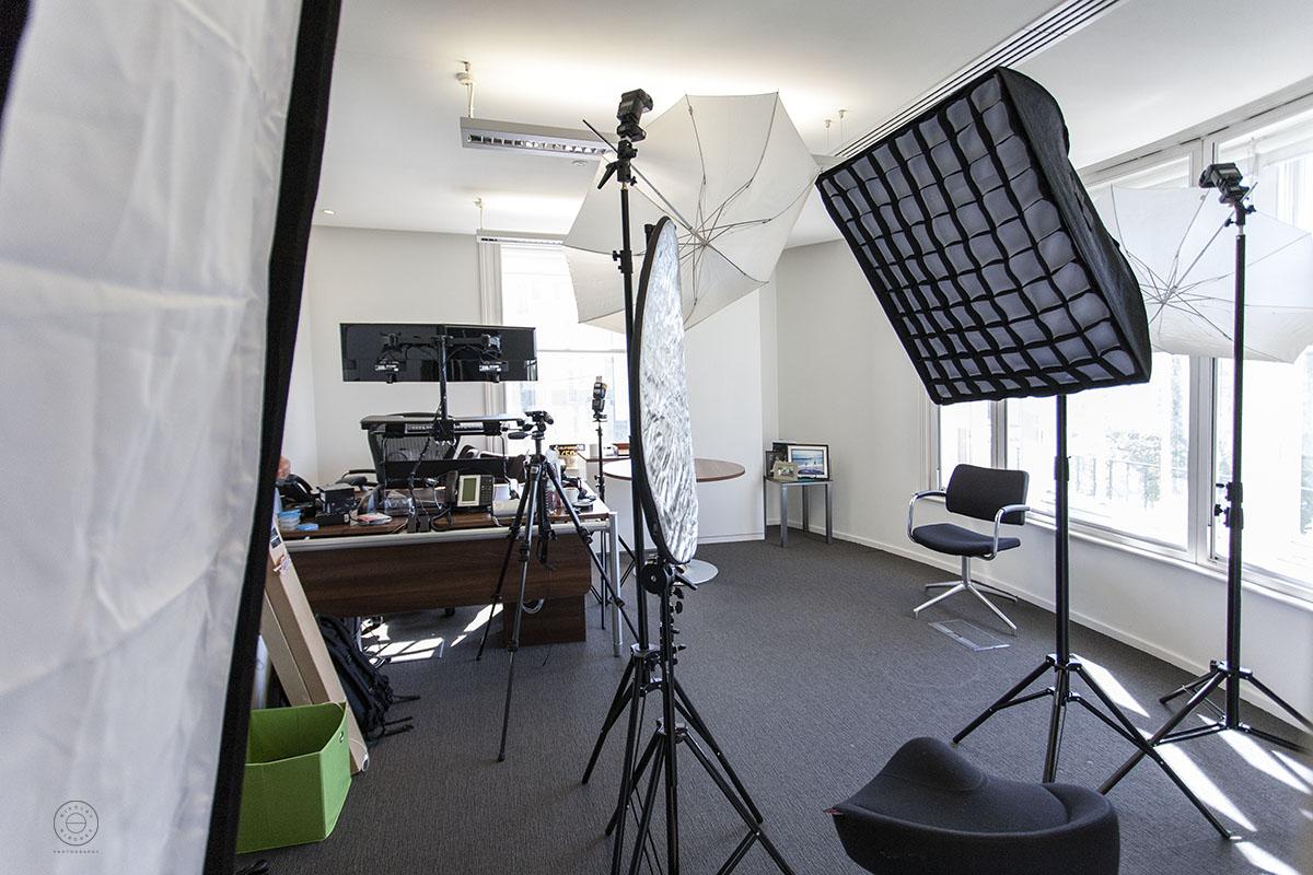 Corporate headshots lighting setup on location