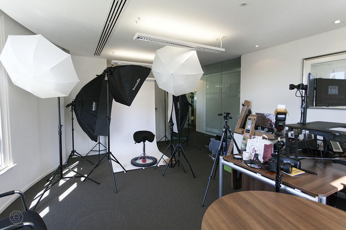 Photography lighting setup on location