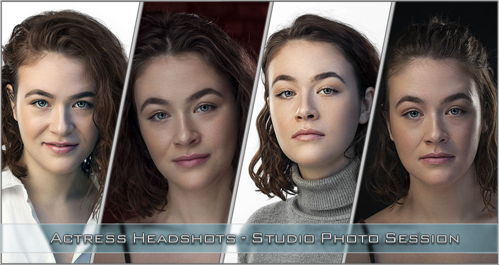 four looks of an actress headshots photographed in a studio by professional photographer