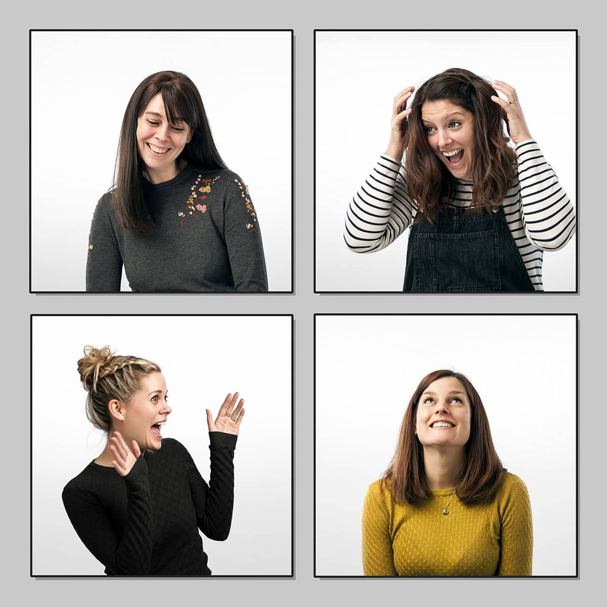 collage from four images consisting of the portraits of four sisters from a portrait session in a studio with white background.